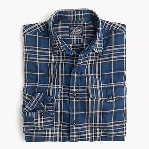 J. CREW Flannel Blue Plaid Print Button Down Shirt